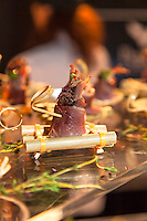 Chef Steffan Howard's Rosemary Smoked Duck Breast served with a Mousse of Duck Confit, and a Blueberry and Raw Chocolate Coulis at FoodShare Toronto's Recipe for Change, February 28,  2013