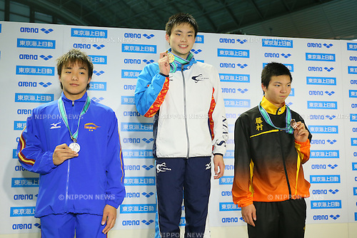 (L to R) <br /> Daichi Inagaki, <br /> Ippei Miyamoto, <br /> Ikuma Osaki, <br /> MARCH 29, 2015 - Swimming : <br /> The 37th JOC Junior Olympic Cup <br /> Men's 200m Breaststroke <br /> 15-16 years old award ceremony <br /> at Tatsumi International Swimming Pool, Tokyo, Japan. <br /> (Photo by YUTAKA/AFLO SPORT)