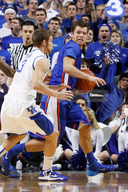 UK guard Jarrod Polson guarding Boise State guard Igor Hadziomerovic during the first half of the UK basketball game vs. Boise State on Tuesday, December 10, 2013, in Lexington, Ky. Photo by Kalyn Bradford | Staff
