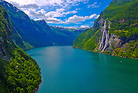 View of Geiranger Fjord and the Seven Sisters.Western Fjords, Norway.World Heritage Site.Seven Sisters Waterfall