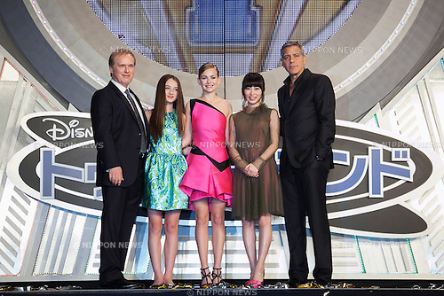 (L to R) The film director Brad Bird, the child actress Raffey Cassidy, the actress Britt Robertson, the actress Mirai Ishida and the actor George Clooney pose for the cameras during the Japan premiere for the film ''Tomorrowland'' in Roppongi Hills Arena on May 25, 2015, Tokyo, Japan. Clooney visited Japan for the first time in eight years with his wife Amal. The movie hits the theaters across Japan on June 6th. (Photo by Rodrigo Reyes Marin/Walt Disney Studio Japan/AFLO)