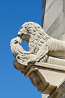 Close up of a13th century Romaesque sculpture of a Lion of the Cattedrale di San Martino,  Duomo of Lucca, Tunscany, Italy,