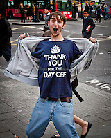 Royal subject - 2011<br /> <br /> London, 29/04/2011. Hundreds of thousands of people in central London celebrated the Royal Wedding between Prince William and Kate Middleton. These pictures have been taken in Whitehall, the Mall, Trafalgar Square, outside Buckingham Palace, Parliament Square.