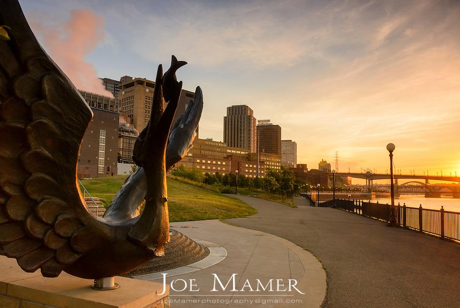 Sculpture along the Mississippi River at Upper Landing Park downtown Saint Paul, Minnesota.