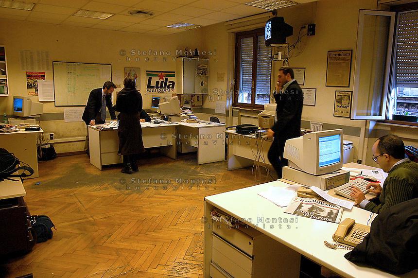 Roma  4 Febbraio 2005.Conferenza stampa nelle sede del giornale Il Manifesto,in  via Tomacelli, per il rapimento di Giuliana  Sgrena  inviata del giornale in Iraq.