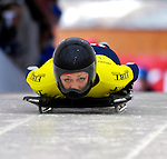 15 December 2006: Katie Uhlaender, from the USA, starts her run at the FIBT Women's World Cup Skeleton Competition at the Olympic Sports Complex on Mount Van Hoevenburg  in Lake Placid, New York, USA. Uhlaender took first place in the FIBT event.&amp;#xA;&amp;#xA;Mandatory Photo credit: Ed Wolfstein Photo<br />