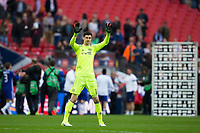 Chelsea's Thibaut Courtois acknowledges the fans after the game  <br /> <br /> <br /> Photographer Craig Mercer/CameraSport<br /> <br /> Emirates FA Cup Semi-Final - Chelsea v Tottenham Hotspur - Saturday 22nd April 2017 - Wembley Stadium - London<br />  <br /> World Copyright &copy; 2017 CameraSport. All rights reserved. 43 Linden Ave. Countesthorpe. Leicester. England. LE8 5PG - Tel: +44 (0) 116 277 4147 - admin@camerasport.com - www.camerasport.com