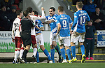 St Johnstone v Rangers&hellip;28.12.16     McDiarmid Park    SPFL<br />Paul Paton and Richie Foster square up to Andy Halliday and Jason Holt<br />Picture by Graeme Hart.<br />Copyright Perthshire Picture Agency<br />Tel: 01738 623350  Mobile: 07990 594431