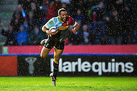 Jamie Roberts of Harlequins dives for the opening try of the match. European Rugby Challenge Cup semi final, between Harlequins and Grenoble on April 22, 2016 at the Twickenham Stoop in London, England. Photo by: Patrick Khachfe / JMP