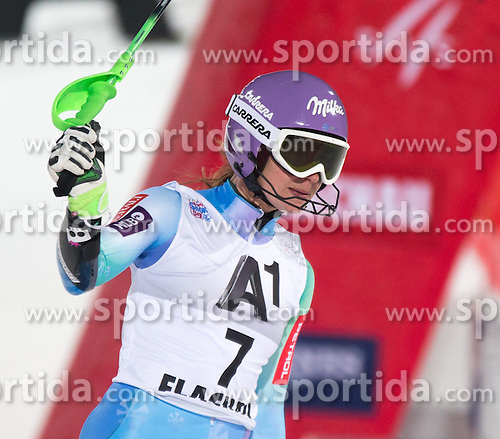 13.01.2015, Hermann Maier Weltcupstrecke, Flachau, AUT, FIS Weltcup Ski Alpin, Flachau, Slalom, Damen, 2. Lauf, im Bild Tina Maze (SLO, 2. Platz) // second placed Tina Maze of Slovenia reacts after her 2nd run of the ladie's Slalom of the FIS Ski Alpine World Cup at the Hermann Maier Weltcupstrecke in Flachau, Austria on 2015/01/13. EXPA Pictures © 2015, PhotoCredit: EXPA/ JOHANN GRODER