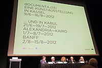 dOCUMENTA (13) in Kassel, Germany..Opening Press Conference at Stadthalle..dOCUMENTA (13) Director Carolyn Christov-Bakargiev giving a lecture.