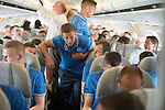 Rosenborg v St Johnstone....17.07.13  UEFA Europa League Qualifier.<br /> Chris Millar talks with Dave Mackay on the flight over to Trondheim<br /> Picture by Graeme Hart.<br /> Copyright Perthshire Picture Agency<br /> Tel: 01738 623350  Mobile: 07990 594431