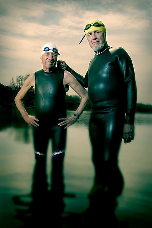 Slug: WK/Triathletes.Date: 4-11-2004.Photographer: Mark Finkenstaedt FTWP.Location: Reston, VA.Caption: Senior Triathletes L-R Harry Bratt aged 75 and Russ preble aged 73.