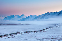 Trans Alaska oil pipeline on the north side of Atigun pass of the Brooks range, arctic Alaska.