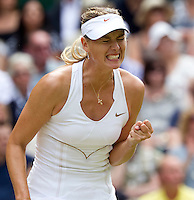 MARIA SHARAPOVA (RUS) (5) against PETRA KVITOVA (CZE) (5) in the Final of the Ladies Singles. Petra Kvitova beat Maria Sharapova 6-3 6-4..Tennis - Grand Slam - Wimbledon - AELTC - London- Day 12 - Sat July 2nd 2011..© AMN Images, Barry House, 20-22 Worple Road, London, SW19 4DH, UK..+44 208 947 0100.www.amnimages.photoshelter.com.www.advantagemedianetwork.com.
