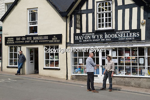 Book shops in the main town square.  The Hay Festival, Hay on Wye, Powys, Wales, Great Britain. 2006.