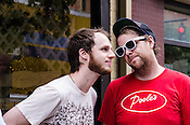 Jenks Miller of Mount Moriah and Brad Cook of Megafaun during the Martin Street day party during the Hopscotch Music Festival in Raleigh, North Carolina. September 8, 2012.