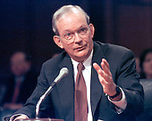 Washington, DC - March 12, 1997 - CIA Director-designate Anthony Lake responds to a Senator's question during the hearing before the United States Senate Intelligence Committee on his nomination on Capitol Hill in Washington, DC on March 12, 1997.<br /> Credit: Ron Sachs / CNP