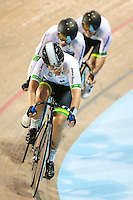 Picture by Alex Whitehead/SWpix.com - 05/03/2017 - Cycling - UCI Para-cycling Track World Championships - Velo Sports Center, Los Angeles, USA - Australia's Amanda Reid, Kyle Bridgwood and Alistair Donohoe in action during the Mixed Team Sprint qualifying.
