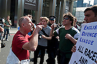 The racist English Defence League announce a protest in Tower Hamlets East London. Activists mobilised in their thousands to keep them out despite a ban of Marches in East London. EDL supporters were harrassed in the street and held their rally outside of Tower Hamlets in neighbouring City of London.