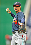 13 April 2008: Atlanta Braves' second baseman Kelly Johnson warms up prior to a game against the Washington Nationals at Nationals Park, in Washington, DC. The Nationals ended their 9-game losing streak by defeating the Braves 5-4 in the last game of their 3-game series...Mandatory Photo Credit: Ed Wolfstein Photo