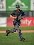 12 July 2015: Minor League Umpire Vince Jackson works a game between the Vermont Lake Monsters and the West Virginia Black Bears at Centennial Field in Burlington, Vermont. The Lake Monsters came back from a 4-0 deficit to defeat the Black Bears 5-4 in NY Penn League action. Mandatory Credit: Ed Wolfstein Photo *** RAW Image File Available ****