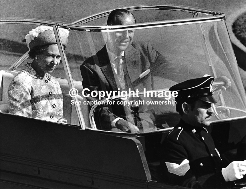 Queen Elizabeth 11, accompanied by the Duke of Edinburgh, in an open top vehicle on a visit to the Coleraine Campus, New University of Ulster, N Ireland. 1977080001a..Copyright Image from Victor Patterson, 54 Dorchester Park, Belfast, United Kingdom, UK...For my Terms and Conditions of Use go to http://www.victorpatterson.com/Victor_Patterson/Terms_%26_Conditions.html
