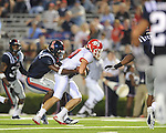 Ole Miss safety Damien Jackson (1) tackles Fresno State wide receiver Alex Jefferies (80)  at Vaught-Hemingway Stadium in Oxford, Miss. on Saturday, September 25, 2010. Ole Miss won 55-38.