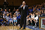 16 January 2016: Notre Dame head coach Mike Brey. The Duke University Blue Devils hosted the University of Notre Dame Fighting Irish at Cameron Indoor Stadium in Durham, North Carolina in a 2015-16 NCAA Division I Men's Basketball game. Notre Dame won the game 95-91.