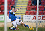 St Johnstone v Partick Thistle&hellip;02.03.16  SPFL McDiarmid Park, Perth<br />Graham Cummins misses the goal after rounding keeper Tomas Cerny<br />Picture by Graeme Hart.<br />Copyright Perthshire Picture Agency<br />Tel: 01738 623350  Mobile: 07990 594431
