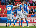 St Johnstone v Falkirk&hellip;23.07.16  McDiarmid Park, Perth. Betfred Cup<br />Joe Shaughnessy celebrates his goal with Brian Easton and Graham Cummins<br />Picture by Graeme Hart.<br />Copyright Perthshire Picture Agency<br />Tel: 01738 623350  Mobile: 07990 594431