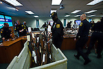New Jersey, United States. 19th Feb, 2013 -- Police organize weapons that were displayed to the media after being acquired during the Gun Buyback program during the last weekend in the Essex county in New Jersey. Photo by Eduardo Munoz Alvarez / VIEWpress.