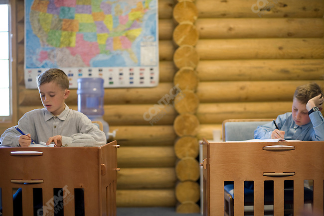 """Fundamentalist Mormon group F.L.D.S.,  school room, """"Yearning for Zion"""" compound in Eldorado, Texas, USA, February 11, 2009"""