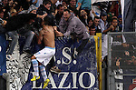 Calcio, Serie A: Lazio vs Palermo. Roma, stadio Olimpico, 2 settembre 2012..Lazio midfielder Antonio Candreva celebrates with fans after scoring during the Italian Serie A football match between Lazio and Palermo at Rome's Olympic stadium, 2 September 2012..UPDATE IMAGES PRESS/Riccardo De Luca