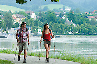 Grein, Danube, Upper Austria, June 2010. Hiking along the Danube in Grein. The River can be crossed on little ferries. The 450 kilometre long Donausteig hiking trail roughly follows the Danube on both sides of the river between Passau in Germany and Grein in Austria. Photo by Frits Meyst/Adventure4ever.com