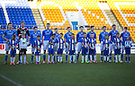 St Johnstone Academy v Manchester United Academy....17.04.15   <br /> The saints team lines up before kick off, from left, Nathan Brown, Ben McKenzie, Jamie McKenzie, Ben Quigley, Jamie Docherty, Gus Mailer, Cameron Lumsden, Gavin Brown, Sean Struthers, Joe Johnson and Paul Simpson<br /> Picture by Graeme Hart.<br /> Copyright Perthshire Picture Agency<br /> Tel: 01738 623350  Mobile: 07990 594431