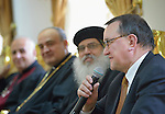 Bishop Martin Hermann Hein, Protestant bishop of Kurhessen Waldeck, Germany, speaks during the visit of an ecumenical delegation to church leaders in Baghdad, Iraq, on January 21, 2017.