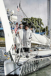 """Last runs for the Hydroptere in San Francisco Bay before heading back to Los Angeles, Hydroptere's home for the Trans-Pacific record attempt."""" Alain Thébault and his crew (Jacques Vincent, Yves Parlier, Jean Le Cam, Jeff Mearing, Warren Fitzgerald) San Francisco, California, USA."""