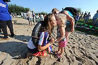 FIERLJEPPEN: VLIST: 22-08-2015, NK Fierljeppen/Polstokverspringen, een tút voor winnares Klaske Nauta (dames) 16.31m, ©foto Martin de Jong