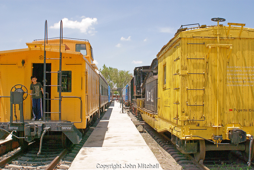 Railway cars, Museo Nacional de los Ferrocarriles Mexicanos or National Railway Museum in the city of Puebla, Mexico