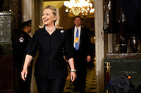Secretary of State Hillary Clinton arrives for President Barack Obama's State of the Union address in the U.S. Capitol on Tuesday, January 24, 2012 in Washington, DC.