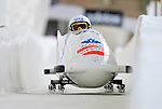17 December 2010:  Kaillie Humphries pilots her 2-man bobsled for Canada, finishing 8th for the day at the Viessmann FIBT World Cup Bobsled Championships in Lake Placid, New York, USA. The event was a Make-up Race from the previous week at Park City where the Women's Bobsled had to be cancelled due to severe snow conditions. Mandatory Credit: Ed Wolfstein Photo