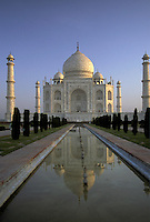 India, Uttar Pradesh, Taj Mahal reflected in the watercourse