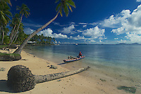 The perfect beach at the Blue Lagoon on the island of Chuuk also know as Truk Lagoon in Micronrsia South Pacific