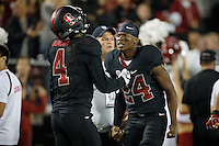 Stanford, Ca - October 8, 2016: Frank Buncom and Quenton Meeks during the Stanford vs. Washington State game Saturday night at Stanford Stadium. <br /> <br /> Washington State won 42-16.