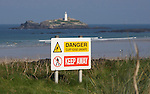 Danger, cliff edge unsafe, warning signs along the cornish coast, Godrevy, Cornwall, England