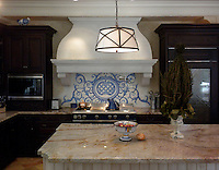 Custom Acanthus kitchen backsplash in Quartz, Lapis Lazuli, Blue Spinel, Mica Jewel Glass