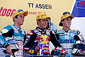 June 26, 2010 - Assen, Holland - (L-R) Nicolas Terol, Marc Marquez and Pol Espargaro celebrate celebrate on the podium the victory at the end of the 125 cc race of the Dutch Grand Prix, Assen, Holland, on June 26, 2010. (Photo Andrew Northcott/Nippon News)