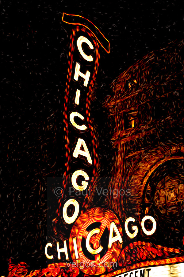 chicago theatre sign at night digital painting travel