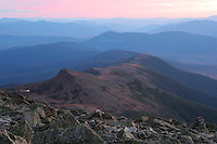 Mount Monroe under a colorful fall sunset sky, White Mountains NH
